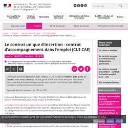 Le contrat unique d'insertion - contrat d'accompagnement dans l'emploi (CUI-CAE) - Contrats aidés