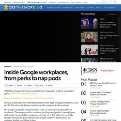 Inside Google workplaces, from perks to nap pods