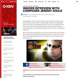 Insider Interview with Composer Jeremy Soule