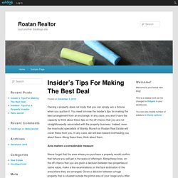 Insider's Tips For Making The Best Deal