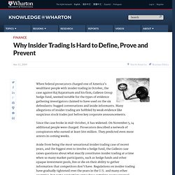 Why Insider Trading Is Hard to Define, Prove and Prevent - Knowl