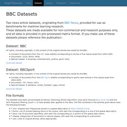 BBC Datasets - Machine Learning Group (UCD)