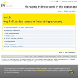 Insight - Key indirect tax issues in the sharing economy