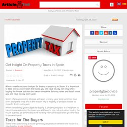 Get Insight On Property Taxes in Spain Article