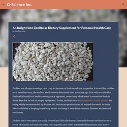 An Insight into Zeolite as Dietary Supplement for Personal Health Care