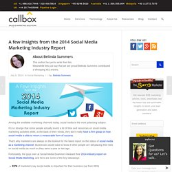 A few insights from the 2014 Social Media Marketing Industry Report