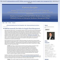 Enterprise Resilience Management Blog: IBM Recommends New Rules for Supply Chain Management