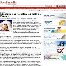L'insomnie varie selon les mois de l'année