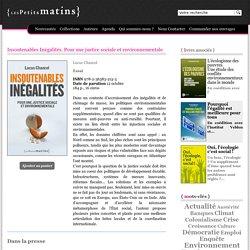Insoutenables Inégalités. Pour une justice sociale et environnementale