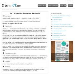CV Inspecteur Education Nationale N°1849 - Exemple de CV Inspecteur Education Nationale