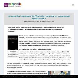"""Un quart des inspecteurs de l'Education nationale en """"épuisement professionnel"""" - VousNousIls"""