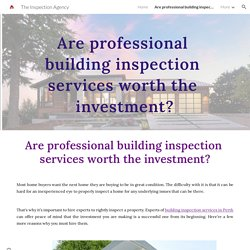 The Inspection Agency - Are professional building inspection services worth the investment?