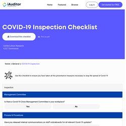 Liste de contrôle d'inspection COVID-19 - SafetyCulture