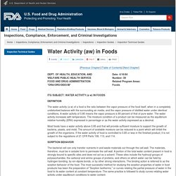 FDA 06/04/84 Water Activity (aw) in Foods