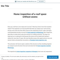 Home inspection of a roof space without access – Site Title
