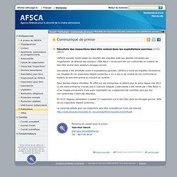 AFSCA 17/12/13 Résultats des inspections bien-être animal dans les exploitations porcines.