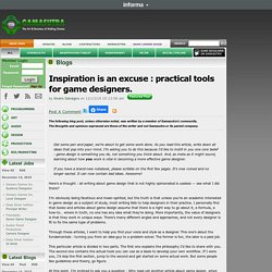 Alvaro Salvagno's Blog - Inspiration is an excuse : practical tools for game designers.