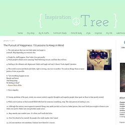 The Inspiration Tree: The Pursuit of Happiness: 15 Lessons to Keep in Mind