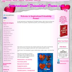 Inspirational Friendship Poems: Love Poems Friendship Poems Insp