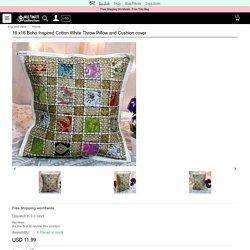 16 x16 Boho Inspired Cotton White Throw Pillow and Cushion c