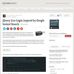 jQuery Live Login inspired by Google Instant Search