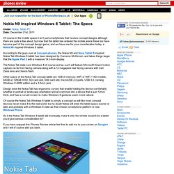Nokia N9 inspired Windows 8 Tablet: The Specs