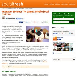 Instagram Becomes The Largest Mobile Social Network