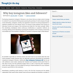 Why buy instagram likes and followers?