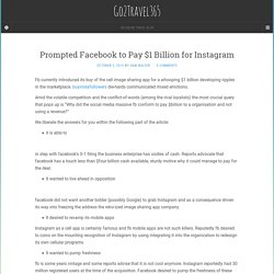 Prompted Facebook to Pay $1 Billion for Instagram – Go2Travel365