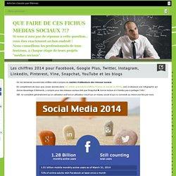 Les chiffres 2014 pour Facebook, Google Plus, Twitter, Instagram, LinkedIn, Pinterest, Vine, Snapchat, YouTube et les blogs