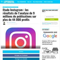 Etude Instagram : les résultats de l'analyse de 9 millions de publications sur plus de 44 000 profils