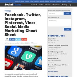 Facebook, Twitter, Instagram, Pinterest, Vine: Social Media Marketing Cheat Sheet