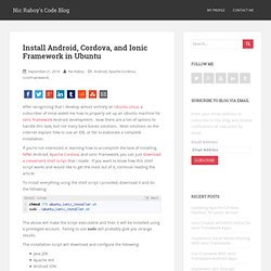 Install Android, Cordova, and Ionic Framework in Ubuntu