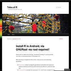 Install R in Android, via GNURoot -no root required