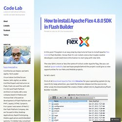 How to install Apache Flex 4.8.0 SDK in Flash Builder « Flash Platform & Co.