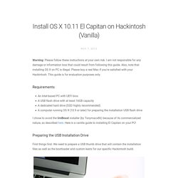 Install OS X 10.11 El Capitan on Hackintosh (Vanilla)