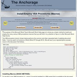 Install/Employ VBA Procedures (Macros)