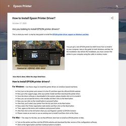 How to Install Epson Printer Driver?