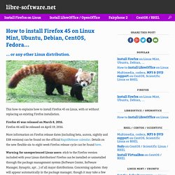 How to install Firefox 45 on Linux Mint, Ubuntu, Debian, CentOS, Fedora…