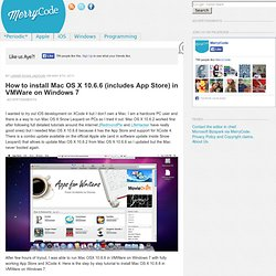 How to install Mac OS X 10.6.6 (includes App Store) in VMWare on Windows 7 | MerryCode