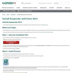 Install Kaspersky Anti-Virus 2015