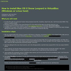 How to install Mac OS X Snow Leopard in VirtualBox (Windows or Linux host)