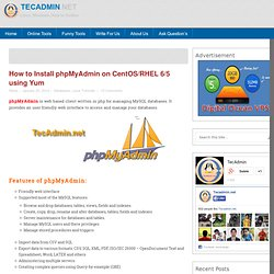 How to Install phpMyAdmin on CentOS/RHEL 6/5 using Yum - TecAdmin.net