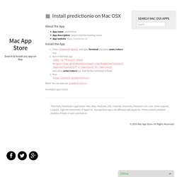 Install predictionio on Mac OSX – Mac App Store