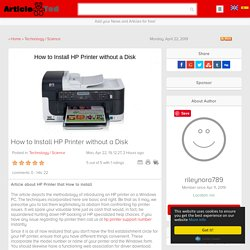 How to Install HP Printer without a Disk Article