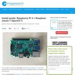 Install guide: Raspberry Pi 3 + Raspbian Jessie + OpenCV 3