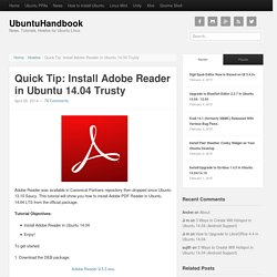 Quick Tip: Install Adobe Reader in Ubuntu 14.04 Trusty