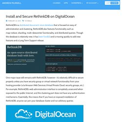 Install and Secure RethinkDB on DigitalOcean - Andrew Munsell