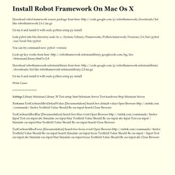 Install Robot Framework On Mac Os X
