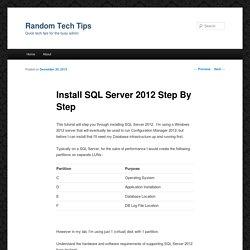 Install SQL Server 2012 Step By Step